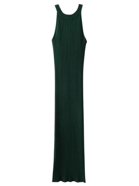 Robe ajustée côtelée fendue sans manches - Vert Foncé TAILLE MOYENNE Mobile