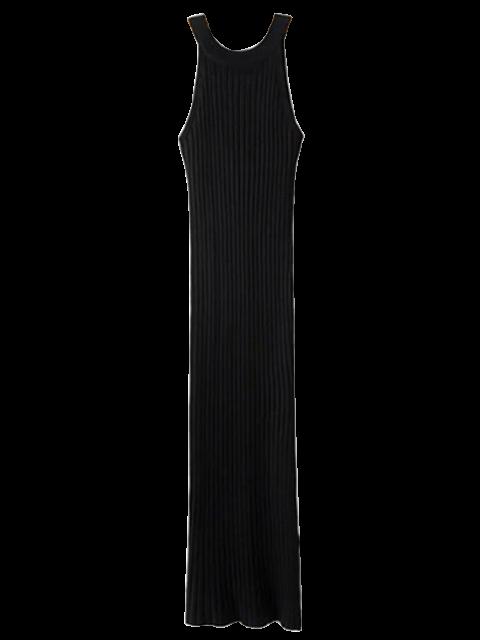 fancy Slit Sleeveless Ribbed Bodycon Dress - BLACK ONE SIZE Mobile