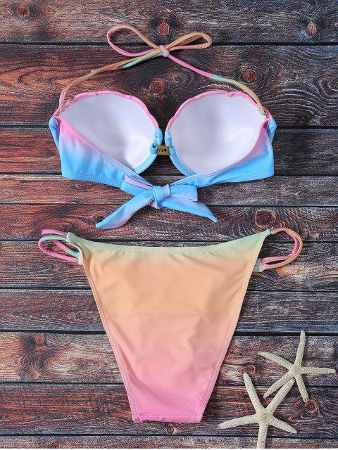 fashion Alluring Ombre Halter Bikini Set - COLORMIX L Mobile