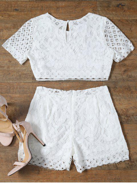 trendy Short Sleeve Guipure Lace Crop Top + Pocket Shortst - WHITE M Mobile