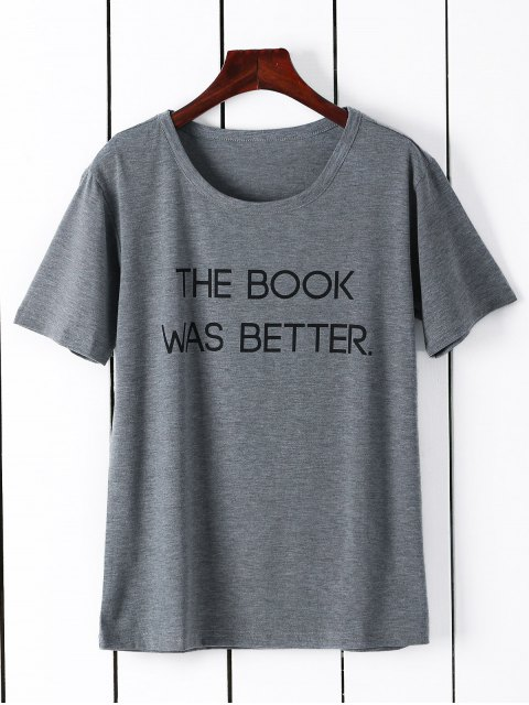 outfits Short Sleeve Letter Graphic Tee - GRAY L Mobile
