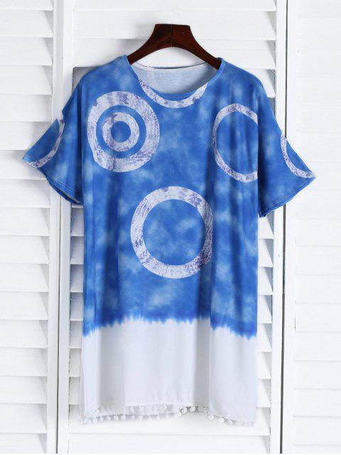 ladies Short Sleeve Color Block Straight Dress - BLUE XL Mobile