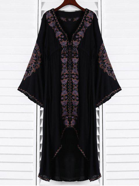 women Embroidered High-Low Maxi Dress - BLACK S Mobile