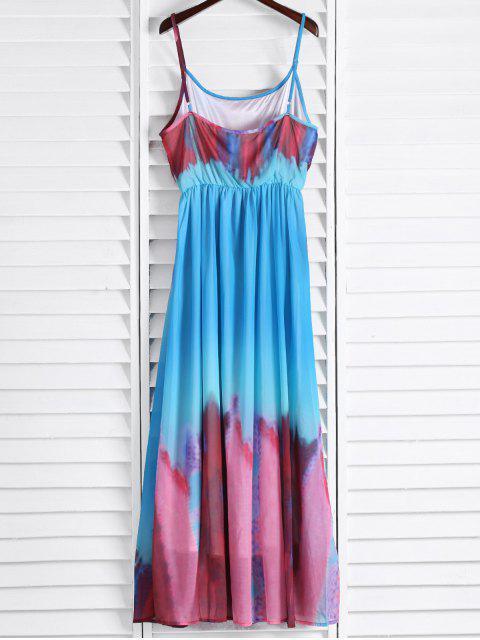 sale Spaghetti Strap Colorful Maxi Dress - AZURE M Mobile