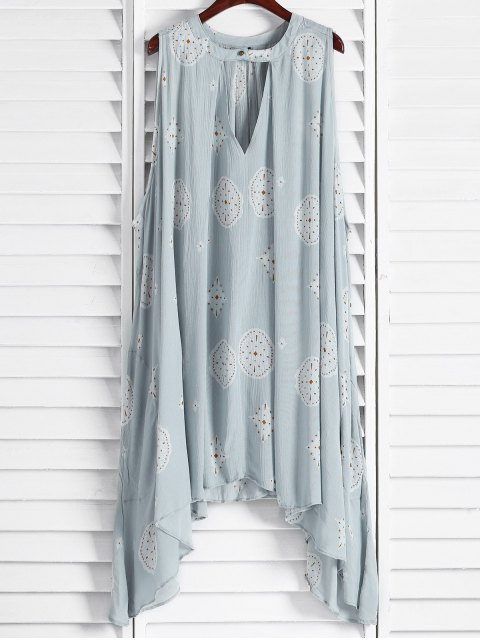 A ligne robe sans manches imprimé à motifs - Bleu clair XS Mobile