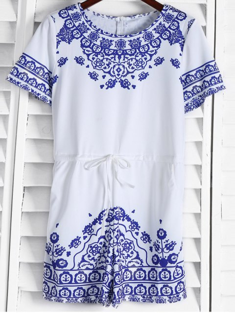ladies Great Wall Print Porcelain Playsuit - BLUE M Mobile