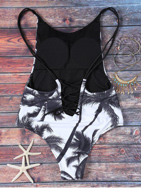 shop Cami Coconut Palm Print One-Piece Swimwear - WHITE AND BLACK S Mobile