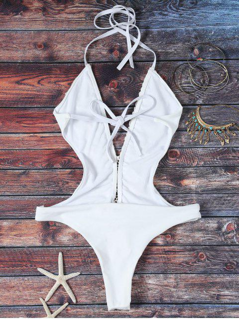 outfits High Cut Plunging Neck Lace Swimsuit - WHITE S Mobile