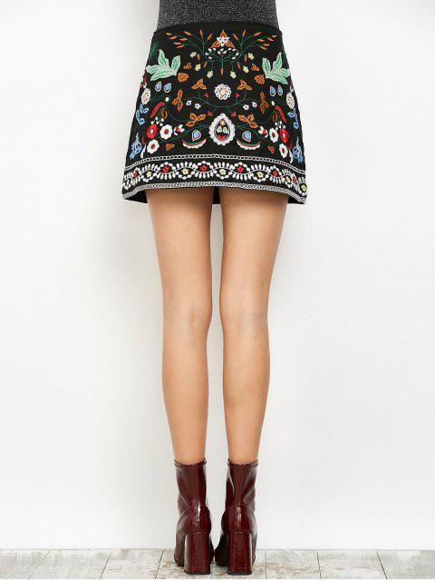 shop Mini Floral Embroidered Flare Skirt - BLACK M Mobile