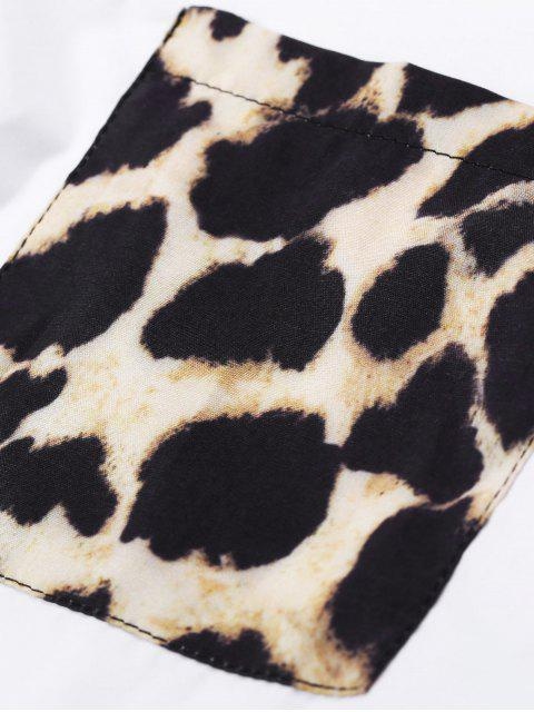 outfits Leopard Pocket High Low Blouse - WHITE S Mobile