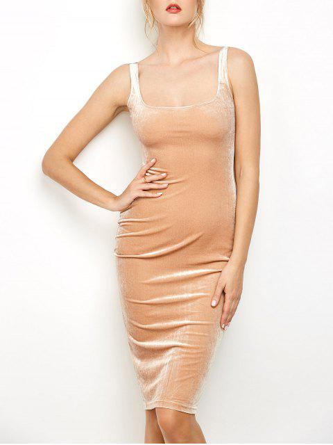 outfits Back Slit Velvet Tank Dress - CAMEL ONE SIZE Mobile