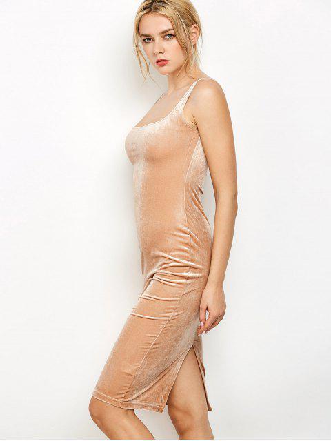 Rückenschlitz Velvet-Behälter-Kleid - Kamelhaarfarbe  Eine Größe Mobile