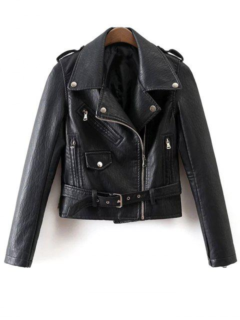 trendy Zip-Up PU Leather Motorcycle Jacket - BLACK M Mobile