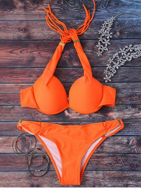 women Halterneck Push Up Bikini Set - ORANGE L Mobile