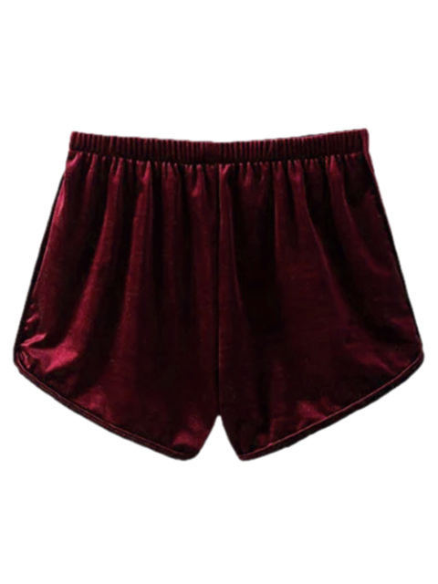 shops Velvet Elastic Waist Shorts - WINE RED M Mobile