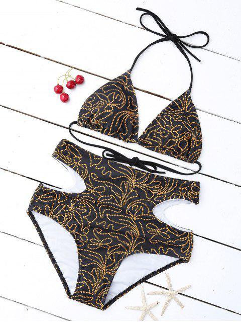 fashion Print Cutout High Waisted Bikini Set - BLACK L Mobile