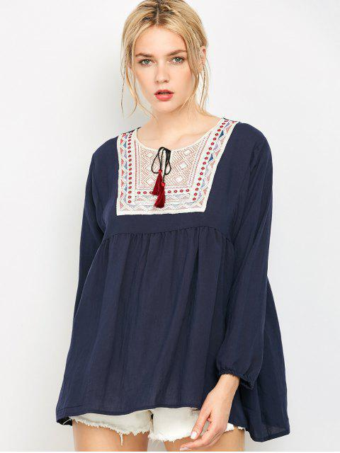outfits Ruched Loose Embroidered Blouse - PURPLISH BLUE XL Mobile
