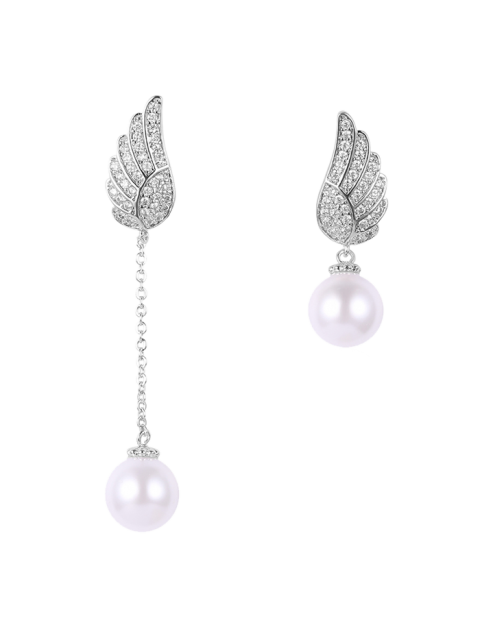 sale Fake Pearl Wing Asymmetric Earrings - SILVER  Mobile