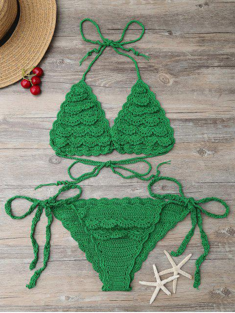 latest String Knitting Bikini Set - GREEN ONE SIZE Mobile