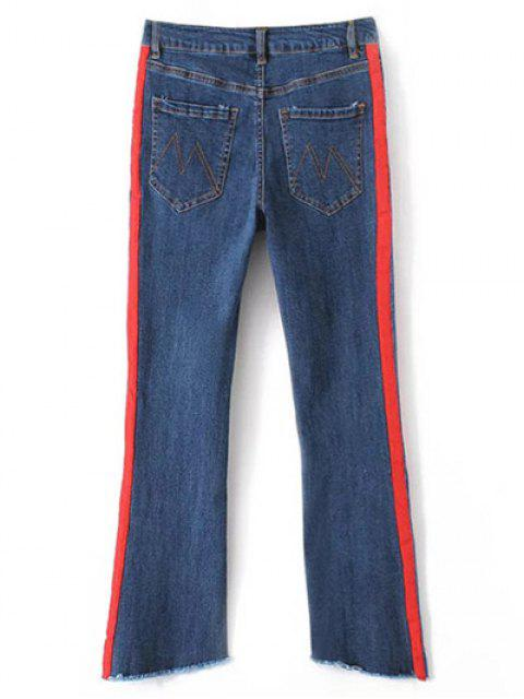 women's Patched Cutoffs Flare Jeans - BLUE S Mobile