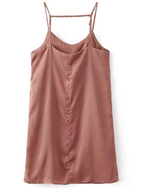 latest Adjustable Strap Satin Dress - PINK SMOKE S Mobile