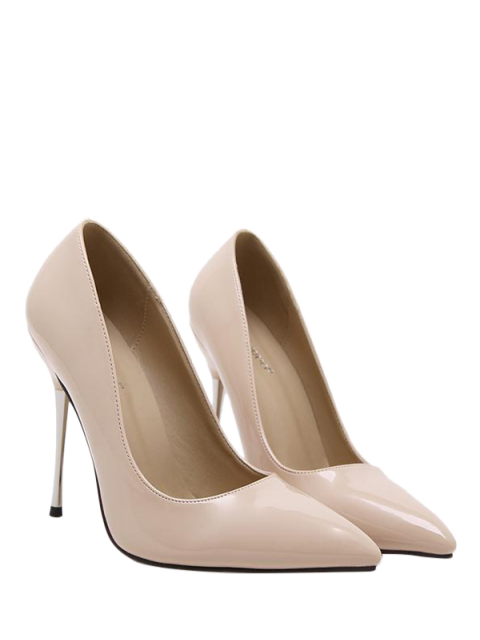 women's Stiletto Heel Patent Leather Pointed Toe Pumps - APRICOT 38 Mobile