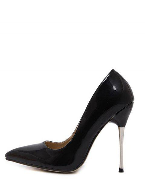 sale Stiletto Heel Patent Leather Pointed Toe Pumps - BLACK 37 Mobile