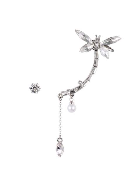 trendy Dragonfly Ear Cuff and Rhinestone Earring - SILVER  Mobile