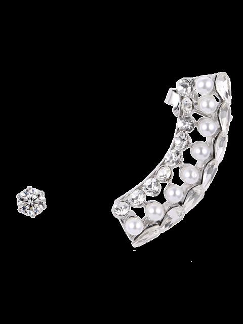 Faux-Perlen-Kristallohr-Stulpe - silber  Mobile