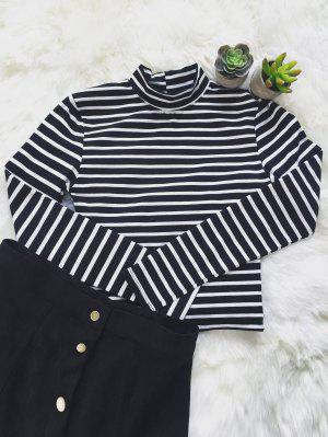 Striped Ribbed Cropped T-Shirt - White And Black S