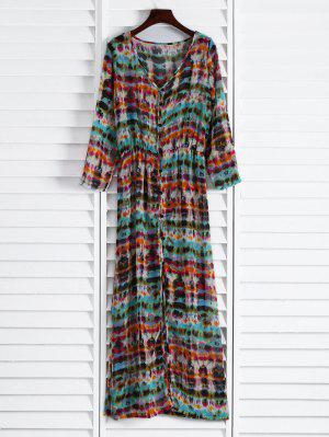 Semi Sheer Button Front Maxi Dress