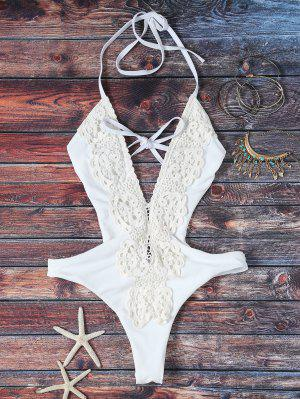 High Cut Plunging Neck Lace Swimsuit - White S