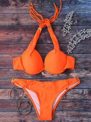 Halterneck Push Up Bikini Set - Orange L