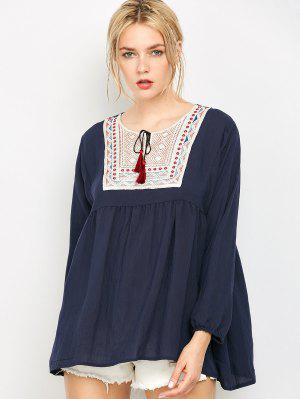 Ruched Loose Embroidered Blouse - Purplish Blue Xl