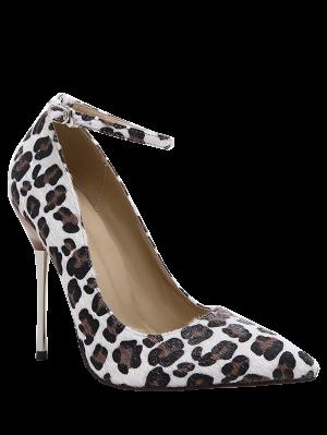 De punta estrecha del estampado leopardo de la correa del tobillo Bombas