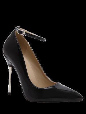 Zapato Con Cierre De Estilete Bombas De Cuero Del Talón De Patente - Negro - Negro 39