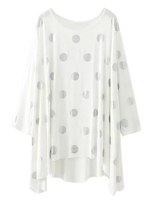 Baggy Polka Dot Blusa - Branco L