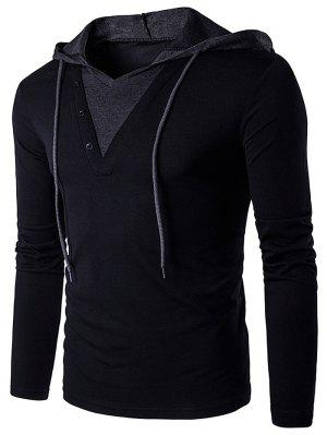 Color Block Panel Hooded Long Sleeve T-Shirt