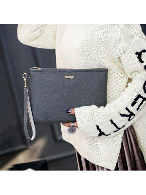 Metal Detail Clutch Bag with Wristlet