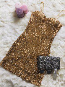 Mini Slip Sequins Dress - Golden