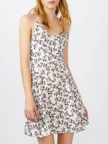 السباغيتي حزام صغيرة الأزهار طباعة البسيطة الشمس - أبيض M