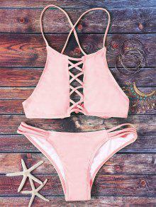 Rosa Aushöhlen Halter-Bikini-Set - Pink L