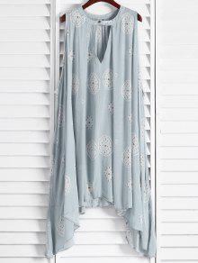 Buy Print Keyhole Swing Dress - LIGHT BLUE M