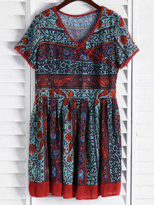 Vintage Floral Short Sleeve Flare Dress - S