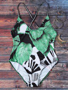 Spaghetti Strap Leaves Print Open Back Swimsuit For Women - S