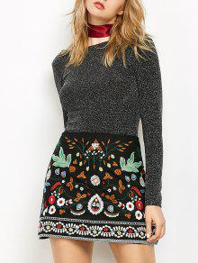 d6469551a577 28% OFF] 2019 Mini Floral Embroidered Flare Skirt In BLACK   ZAFUL