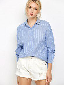 Eyelashes Embroidered Striped Button Up Shirt - Blue L