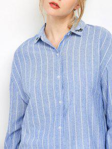 8b5f5ec63557a8 62% OFF  2019 Eyelashes Embroidered Striped Button Up Shirt In BLUE ...
