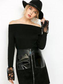 Lace Panel Off Shoulder Knitwear - Black S