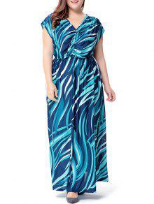 زائد حجم موجة مطبوعة الخامس الرقبة فستان ماكسي - البحيرة الزرقاء 4xl